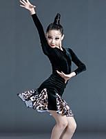 cheap -Latin Dance Dress Pattern / Print Side Draping Ruching Girls' Training Performance Long Sleeve Velvet Polyester