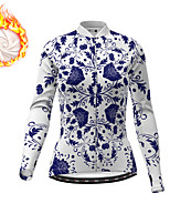 cheap -21Grams Women's Long Sleeve Cycling Jacket Winter Fleece White Floral Botanical Bike Jacket Top Mountain Bike MTB Road Bike Cycling Fleece Lining Warm Sports Clothing Apparel / Micro-elastic