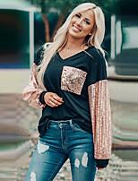 cheap -Women's T-shirt Color Block Long Sleeve Patchwork V Neck Tops Basic Basic Top Black