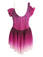 cheap -Figure Skating Dress Women's Girls' Ice Skating Dress Fuchsia Spandex High Elasticity Training Competition Skating Wear Handmade Crystal / Rhinestone Half-Sleeve Ice Skating Winter Sports Figure