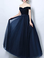 cheap -A-Line Elegant Minimalist Wedding Guest Formal Evening Dress Off Shoulder Short Sleeve Floor Length Tulle with Bow(s) Pleats 2020