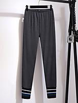 cheap -Women's Basic Daily Chinos Pants Solid Colored Stripe Comfort Black Light gray Dark Gray XXL 3XL 4XL