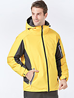 cheap -Men's Hiking Jacket Winter Outdoor Thermal Warm Waterproof Windproof Breathable Jacket Full Length Hidden Zipper Climbing Camping / Hiking / Caving Traveling Black / Yellow