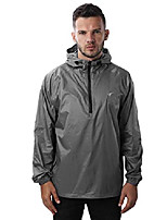 cheap -mens rain jacket waterproof hooded coat pullover windbreaker packable raincoats(gy s) gray
