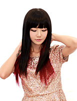 cheap -Synthetic Wig Straight Neat Bang Wig Medium Length Burgundy Synthetic Hair Women's Fashionable Design Ombre Hair Exquisite Burgundy