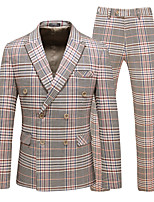 cheap -Tuxedos Tailored Fit Peak Double Breasted Four-buttons Polyster / Polyester Plaid / Check / Classic