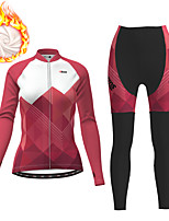 cheap -21Grams Women's Long Sleeve Cycling Jersey with Tights Winter Fleece Polyester Fuchsia Gradient Geometic Bike Clothing Suit Thermal Warm Fleece Lining Breathable 3D Pad Warm Sports Gradient Mountain