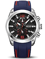 cheap -men's sports analogue chronograph luminous quartz wrist watches with stylish blue silicone band (2063 black)