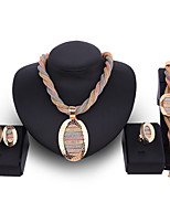 cheap -Women's Synthetic Diamond Bridal Jewelry Sets Rope Simple Basic Elegant Earrings Jewelry Gold For Wedding Engagement 1 set