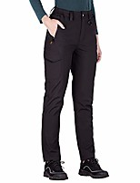 cheap -women's outdoor water resistant fleece lined softshell pants windproof breathable lightweight hiking cargo pants (black a large/us 12-14)
