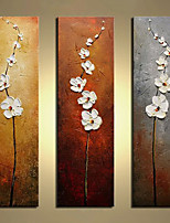 cheap -Oil Painting Hand Painted - Abstract Floral / Botanical Modern Rolled Canvas (No Frame) / Three Panels