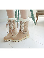cheap -Women's Boots Wedge Heel Round Toe Casual Basic Daily Solid Colored PU Over The Knee Boots Walking Shoes Almond