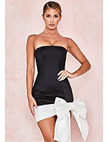 cheap -Women's Sheath Dress Short Mini Dress - Sleeveless Solid Color Patchwork Spring Strapless Sexy Going out Slim 2020 Black S M L XL XXL