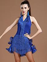 cheap -Latin Dance Dress Tassel Ruching Paillette Women's Training Performance Sleeveless Milk Fiber