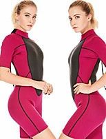 cheap -wetsuit shorty women 1.5mm neoprene surfing wet suit 2mm girls swimsuit short sleeves jumpsuit swimming snorkeling suits (1.5mm rose, medium)