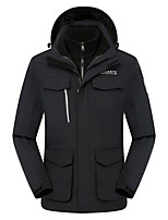 cheap -Men's Hiking Fleece Jacket Winter Outdoor Patchwork Thermal Warm Windproof Fleece Lining Breathable Winter Jacket Fleece Fishing Climbing Camping / Hiking / Caving White / Black