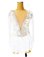 cheap -Figure Skating Dress Women's Girls' Ice Skating Dress White Glitter Floral Spandex High Elasticity Competition Skating Wear Handmade Crystal / Rhinestone Long Sleeve Ice Skating Figure Skating / Kids
