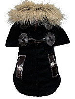 cheap -fur collar winter windproof coat hoodie hooded jacket small pet boy dog clothes black s