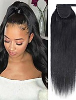 cheap -ponytail extension human hair wrap around ponytail hair extension clip in binding ponytail hair piece 100% remy human hair long straight 22 inch #01 jet black