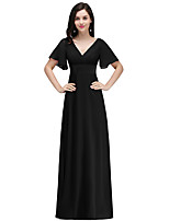 cheap -A-Line Elegant Minimalist Party Wear Formal Evening Dress V Neck Short Sleeve Floor Length Chiffon with Ruffles 2020