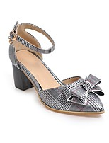 cheap -Women's Heels Wedge Heel Pointed Toe Classic Daily Bowknot Plaid / Check PU White / Black