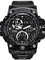 cheap -military men's sports analog quartz watch dual display alarm digital watches with led backlight (black)