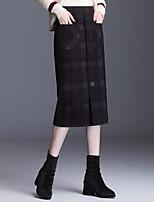 cheap -Women's Casual / Daily Basic Midi Pencil Skirts Plaid Split