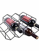cheap -freestanding wine rack for cabinets, kitchen countertop, bar — metal black brushed geometric designed bottle holder — storage racks for 7 bottles