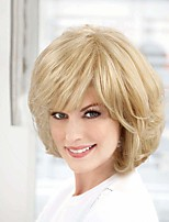 cheap -Human Hair Blend Wig Medium Length Curly With Bangs Blonde Party Women New Arrival Capless Women's Medium Auburn / Bleach Blonde Beige Blonde / Bleached Blonde 10 inch