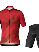 cheap -21Grams Men's Short Sleeve Cycling Jersey with Shorts Black / Red Black / Blue Bike UV Resistant Quick Dry Sports Patterned Mountain Bike MTB Road Bike Cycling Clothing Apparel / Stretchy