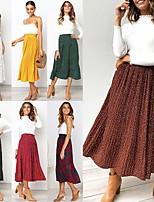 cheap -Women's Casual / Daily Basic Knee-length Skirts Polka Dot Peplum Chiffon