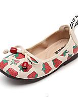 cheap -Girls' Flats Flower Girl Shoes PU Little Kids(4-7ys) Walking Shoes Bowknot / Split Joint Pink / Beige Spring / Fall