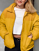 cheap -Women's Puffer Jacket Parka Solid Colored POLY Yellow S / M / L