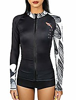 cheap -women rash guard swimsuit zip front long sleeve spf koi printed diving