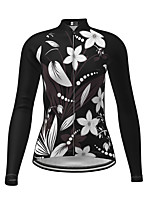 cheap -21Grams Women's Long Sleeve Cycling Jersey Winter Polyester Black Novelty Floral Botanical Bike Jersey Top Mountain Bike MTB Road Bike Cycling Quick Dry Back Pocket Sports Clothing Apparel