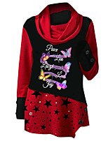 cheap -Women's Tunic 3D Print Star Long Sleeve Print Round Neck Tops Loose Basic Basic Top Blue Red Green