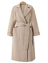 cheap -Women's Fall & Winter Coat Long Solid Colored Daily Basic Black Khaki Beige S M L XL
