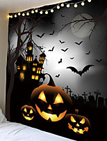 cheap -Halloween Party Wall Tapestry Art Decor Blanket Curtain Picnic Tablecloth Hanging Home Bedroom Living Room Dorm Decoration Pychedelic kull keleton Pumpkin Bat Witch Haunted cary Catle Polyeter