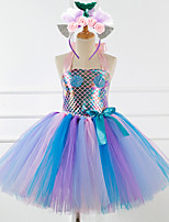 cheap -Mermaid Dress Girls' Movie Cosplay New Year's Blue Dress Headwear Christmas Halloween Carnival Polyester / Cotton Polyester