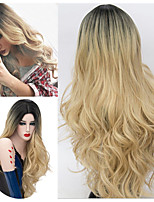 cheap -Synthetic Wig Body Wave Middle Part Wig Very Long Blonde Synthetic Hair 30 inch Women's Ombre Hair Romantic Fluffy Blonde