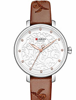 cheap -CURREN Women's Quartz Watches Quartz Formal Style Modern Style Minimalist Water Resistant / Waterproof Genuine Leather Brown / Pink / Khaki Analog - Golden+White Blushing Pink Brown One Year Battery