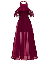 cheap -A-Line Elegant Minimalist Party Wear Formal Evening Dress Halter Neck Short Sleeve Floor Length Chiffon with Ruffles 2020