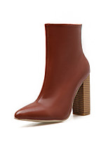 cheap -Women's Boots Block Heel Pointed Toe Casual Basic Daily Solid Colored Leather Booties / Ankle Boots Walking Shoes Brown