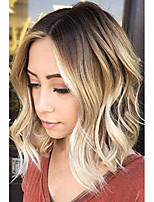 cheap -short curly ombre blonde bob hair wigs for women synthetic middle part wig with brown roots party costume cosplay wig (ombre blonde-9143)