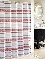 """cheap -bohemian white red striped shower curtains for bathroom decor, waterproof washable polyester fabric set 12 hooks rings, 72""""x72""""inch"""