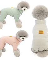 cheap -Dog Cat Coat Jumpsuit Solid Colored Classic Casual / Daily Winter Dog Clothes Puppy Clothes Dog Outfits Breathable Pink Green Gray Costume for Girl and Boy Dog Polyster S M L XL XXL