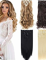 cheap -7pcs 16 clips curly straight double weft clip in hair extension thick synthetic hair extensions hairpieces