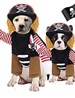 cheap -Dog Cat Costume Pirate Cosplay Winter Dog Clothes Black Costume Polyester S M L XL