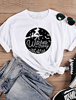 cheap -Women's Halloween Witch T-shirt Graphic Prints Letter Print Round Neck Tops 100% Cotton Basic Halloween Basic Top White Black Purple