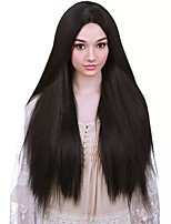cheap -Cosplay Wig Yaki Lace Front Straight Black kinky Straight Asymmetrical Lace Front Wig Very Long Black Synthetic Hair Women's Anime Cosplay Exquisite Black